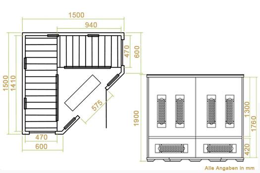 infrarotkabine w rmekabine malm 150 mit vollspektrumstrahlern hemlockholz. Black Bedroom Furniture Sets. Home Design Ideas